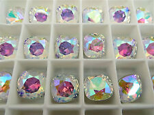 4 Crystal AB Swarovski Crystal Square Cushion Cut  Stone 4470 12mm