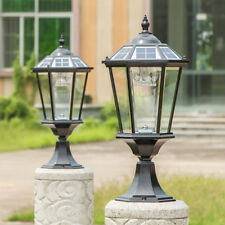 Retro Solar Outdoor Pillar Mounted Coach Lights Metal Lantern Glass LED Lights
