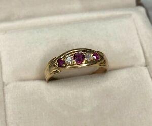 18ct Yellow Gold Diamond & Ruby Victorian Eternity Ring Size O Hallmarked