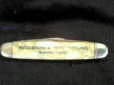 Imperial Brand Advertising Pocket Knife ~ Auto Springs & Bearing Roanoke Va ~