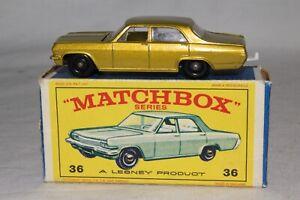 MATCHBOX LESNEY #36C OPEL DIPLOMAT, SCARCE GREEN OPEL BOX, NICE, ORIGINAL