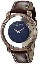 Men's Akribos XXIV AK856RGBR Retro Rose-tone Transparent Dial Brown Strap Watch