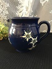 """Cobalt Stoneware """"Pottery Pitcher with Enamel Flowers"""" Signed 5 3/8"""""""