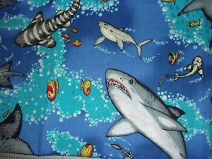 CLEARANCE 1 YARD Shark Attack CP38143 Quilting Crafts Cotton Fabric