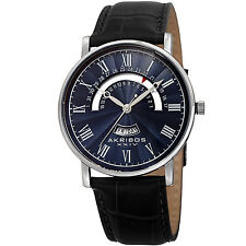 New Men's Akribos XXIV AK898SSBU Classy Day & Date Navy Dial Black Leather Watch
