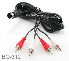 12 ft 5-Pin DIN Male to 4-RCA Male Audio Cable for Bang & Olufsen, Naim, Quad