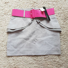 Ladies PRIMARK Mini Skirt Grey with Pink Belt Lined Cotton Blend Size 8 BNWT