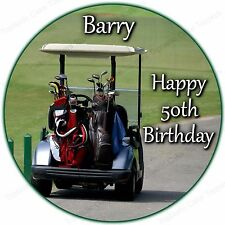 Personalised Golf Club Cart Buggy Golfer Hobby Edible Icing Birthday Cake Topper