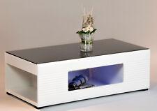 Couchtisch Panda in weiß hochglanz, Wohnzimmertisch, Glastisch, Beleuchtung