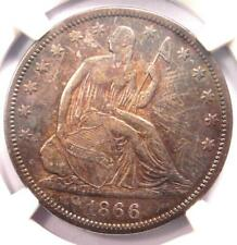 1866-S No Motto Seated Liberty Half Dollar 50C (NM) - NGC VF35 - $1,910 Value!