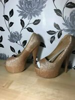 Womens Platform Peep Toe Stiletto Gold Glitter Ladies High Heel Shoes Size 3-8