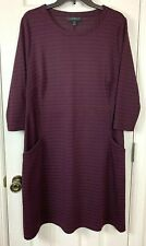 Lane Bryant Dress 14/16 Burgundy Black Stripes Pockets 3/4 Sleeves Shift Purple