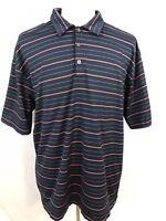 Nike Golf Mens Short Sleeve Polo Shirt Sz XL Navy Blue Whte/Pink Striped Dri Fit