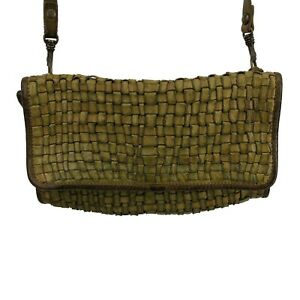 Campomaggi Italy Womens Bags Crossbody Rectangle Woven Green Purse