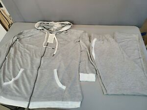 Woman Within 2X 2 piece Zip Soft Sweat Suit Track Suit Gray White Pockets