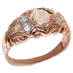 Solid 9ct Rose Gold Natural Opal & Diamond Vintage Style Band Ring