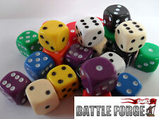 x20 12mm OPAQUE SIX SIDED SPOT DICE - GAMES 40k Sized D6 10 Colours