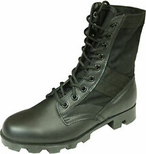Jungle Boots. Black Leather + Canvas. Military Army Vietnam. No Drainage Holes