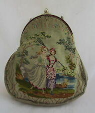 Antique Embroidered Petit Point Purse Handbag 2 Scenes Girls Rowing&Gardening