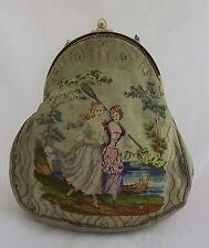 Antique Embroidered Petit Point Purse Handbag 2 Scenes Girls Rowing&Gardening