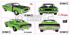 Chrysler Valiant Charger R/T - GREEN - Sticker 4 LARGE STICKERS