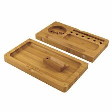 More details for raw wooden bamboo backflip magnetic rolling tray with compartments