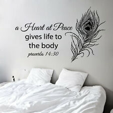 Proverbs Wall Decal Quote Peacock Feather Vinyl Sticker Bedroom Boho Decor kk817