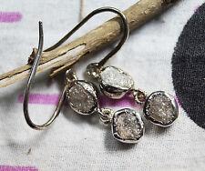 6.20 tcw Gray raw diamond earring, Gray Rough Diamond sterling silver earring