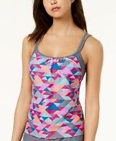 GO by Gossip Triangle Printed Layered-Look Tankini Top $54 Size S # U11B 118 NEW