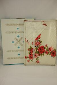 Vintage NOS Stevens Simtex Tablecloth & Napkin Set Roseanne Red 52x52