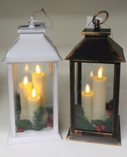 Rustic Large Bronze or White Lantern with 3 LED Flicker Flame Candles 30cm Tall
