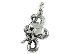 Ed Hardy Skull and Snake Large Pendant Necklace ~ Stainless Steel