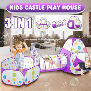 3in1 Baby Toddler Crawling Tunnel Play Tube In/Outdoor Kids Castle Tent Girl
