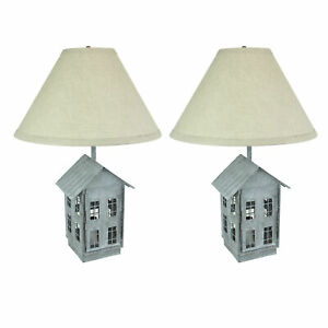 Set of 2 Rustic Zinc Dual Table Lamps And Accent Light Mid Century Modern
