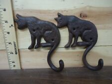 Pair of Cast Iron Cat Wall Mounted Hook Hanger  Animal Theme with a Single Hook