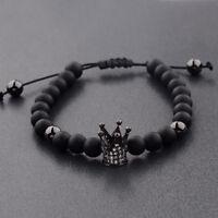 Men Cubic Zircon 24kt Gun Black Plated Crown Bracelet Bead Macrame Bracelets