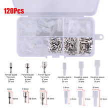 120Pcs Wire Female Spade Terminals Insulating Sleeve Connectors Set 2.8mm -6.3mm