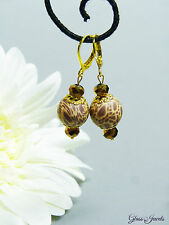 Glass Jewels Tolle Ohrringe Ohrhänger Gold Fimo Animal Glasperlen Afrika #D001