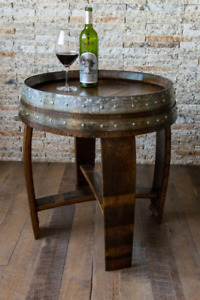 Wine Barrel Side Table by Alpine Wine Design, Dark Walnut Stained Burgundy Oak
