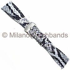 20mm Glam Rock Handmade Gen. Italian Leather Python Grain Silver Black WatchBand