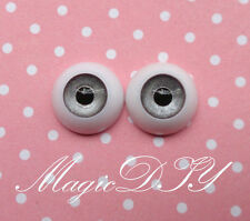 12mm Hand Made BJD Doll Eyes Grey Silver Acrylic Half Ball