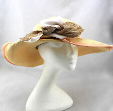 MONA THE MAD HATTER Drummond Straw Peach Silk Ribbon Asymmetrical Wide Brim Hat