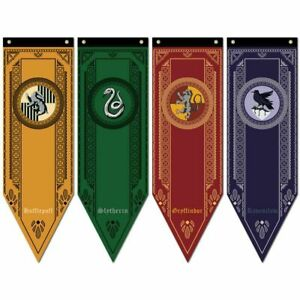 4Pcs  Gryffindor Slytherin Ravenclaw Hogwart House Flag Banner Drape