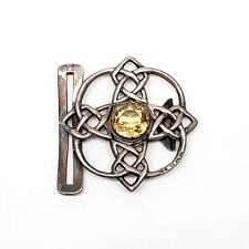 Antique Lawrence Emanuel Sterling Silver Citrine Celtic Belt Buckle #5278