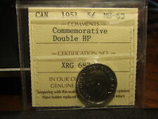 CANADA 5 CENTS 1951 Certified DOUBLE HP, ICCS MS-63 !!!!! VERY STRONG DOUBLING!!