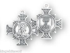 "HMH Religious Maltese Cross St Michael Archangel Sterling Silver Pendant w/18"""
