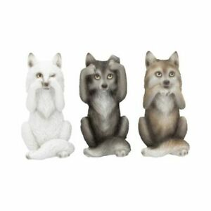 Nemesis Now Three Wise Wolves Animal Gothic Gift See No Evil Set of 3 10cm