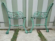 Vintage Small Ornate Cast Iron Green Metal Garden Bench Ends Project