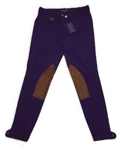 $298 Ralph Lauren Leather Suede Patch Equestrian Leggings Jodhpur Riding Pants 8