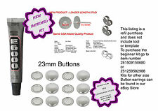 50 Fabric Cover Button 23mm Earrings DIY KIT Stud Stainless Steel REFILL NO TOOL
